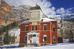 1886 Ouray Colorado Courthouse (Aspenbreeze) Tags: trees winter snow mountains colorado frost courthouse peaks oldbuilding ouray ouraycolorado aspenbreeze