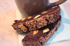 chocolate pistachio biscotti (saucy dragonfly) Tags: coffee baking blog sweet chocolate rich homemade saskatoon snack pistachio treat cappuccino foamy saucy biscotti twicebaked bloggedyblogblog saucyssprinkles sashalibby