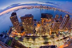 The West Side Highway, Battery Park City, The Hudson, and Jersey City (RBudhu) Tags: newyorkcity skyline jerseycity dusk hudsonriver gothamist bluehour statueofliberty batteryparkcity
