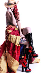 AZ Strong (CEBImagery.com) Tags: red arizona woman hat tattoo hair cowboy state boots flag flames biker
