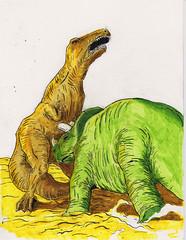 When giants walked the Earth (Jim_V) Tags: ink sketch dinosaur doodle brushpen triceratops tyrannosaur dippen nibpen