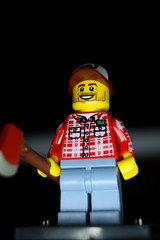 Larry Lumberjack (CJ Isherwood) Tags: girl lego mini snowboard minifigs figures lumberjack gladiator barbarian minifigures