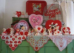 Vintage Valentine's Day Decorations-2012 (MissConduct*) Tags: pink decorations girls red green birdcage girl japan metal angel vintage tin illinois picnic day basket candy heart display bell box chocolate cottage style indoor valentine collection figurines angels chase valentines tray boxes handkerchief figurine decor planter valentinesday polkadot heartshaped hankie madeinjapan lefton missconduct napco relpo oldglorycottage
