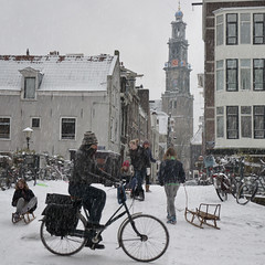 Sledding from the Hilletjesbrug in heart of Amsterdam (Bn) Tags: world city winter white snow cold holland ice church netherlands amsterdam weather bike bicycle kids scarf wonderful children geotagged fun topf50 warm downtown heart centre extreme capital skating nederland freezing canals gloves cap enjoy biking western sledding keep biker anton temperature hook february sliding snowfall sled topf100 playful slippery neighbourhood pleasure channel sleds amstel jordaan knmi westertoren egelantiersgracht wintery westerkerk tweede 9c 100faves 50faves pieck egelantiersdwarsstraat hilletjesbrug geo:lon=4882436 geo:lat=52376280