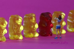 blushing (simon zalto) Tags: red food woman girl yellow lady miniature candy sweet figure ho haribo undressing gummibear undress nacked stripp gummibrli