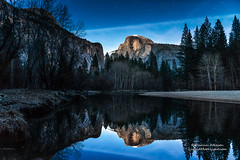 Velvet Blue - Half Dome, Yosemite National Park (Darvin Atkeson) Tags: california park longexposure blue camping sunset sky cliff snow mountains reflection ice night forest river star nationalpark fishing glow village hiking nevada merced velvet sierra glacier pines yosemite granite halfdome rockclimbing starry yosemitevalley northdome darvin atkeson darv liquidmoonlightcom lynneal starfilled