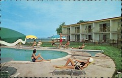 Casablanca Hotel, Grimsby, Ontario (SwellMap) Tags: sun pool architecture swimming vintage advertising design pc 60s fifties postcard suburbia style motel kitsch retro swimmingpool nostalgia chrome pools swimmer americana 50s roadside poolside googie populuxe sixties babyboomer consumer coldwar midcentury spaceage aquatics atomicage