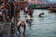 Bathing in the Ganges (CJ Kern) Tags: india varanasi ganges