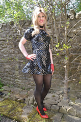 One more outside in my plastic dress (Miss Nina Jay) Tags: tights gloves heels trannie plasticdress