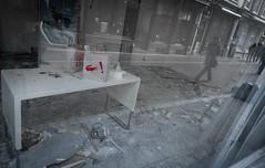 Seen in Zadelstraat (natures-pencil) Tags: street red people reflection art netherlands shop table mess utrecht arty debris nederland crocodile pedestrians lacoste paperbag windo exclamationmark zadelstraat carrierbag refitting reniovation