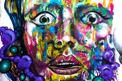 Psyche-delic (Chris B Richmond) Tags: street urban color colour art colors face wall canon painting graffiti rainbow eyes colorful paint purple tn nashville outdoor tennessee vibrant crying bubbles lips spray dslr psychedelic oustide