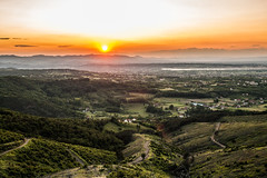 The view (krkojzla) Tags: road trees sunset sky orange sun sunlight mountain beautiful beauty sunshine fog landscape 50mm town view path serbia canon5d srbija kraljevo canon50mmf18stm