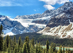 Bow Lake & Crowfoot Glacier, Banff National Park, Alberta, Canada - ICE(5)412-413 (photos by Bob V) Tags: panorama mountains rockies alberta banff rockymountains mountainlake albertacanada banffnationalpark bowlake canadianrockies crowfootglacier banffpark mountainpanorama