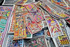 Madhubani Paintings (Abhinav Singhai) Tags: travel blue india green yellow painting paper handicraft paint colours hand tammy shutter tamron bihar tradefair uwa iitf incredibleindia madhubani madhubanipaintings indiainternationaltradefair itpo gettyindia biharpainting gettypainting