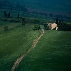 is anybody home (-spacegoat-) Tags: trees italy house building landscape europe hills tuscany cypress toscana valdorcia isolated rollinghills