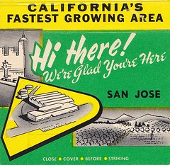 Hi There!  We're Glad You're Here  SAN JOSE (hmdavid) Tags: california vintage sanjose southbay promotional matchbook santaclaracounty matchcover