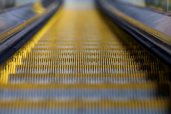 Escalator (Experimental DoF) (Mabry Campbell) Tags: motion detail yellow metal stairs photography movement track pattern texas dof details escalator steps houston down depthoffield step level transportation levels goingdown testure depthoffocus commonthings 2011 canoneod5dmarkii mabrycampbell