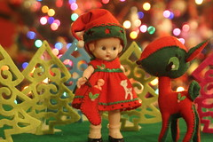 See what is in my stocking (raining rita) Tags: christmas vintage dolls ooak felt deer knickerbocker dolldress dollhousebaby