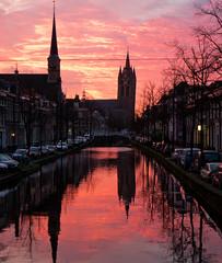 Sunrise (Peter Branger) Tags: leica reflection netherlands sunrise canal cityscape delft reflectie oudejan oudekerkdelft leicadlux5