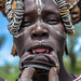 Mursi tribe woman with the cut lip