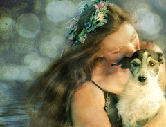 Do You Believe In Faery Tales? (Patti-Jo) Tags: dog photoshop friend windy canine textures wreath fairy elements layers moxie jackrussellterrier selfie headpiece hbw conceptphotos tonalcontrast glamourglow pareeerica artificialbokeh colorefexpro3 3layerswater 2layersbokeh