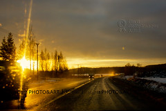 I can see clearly now (Chrisseee) Tags: road winter light sunset sun cars canon finland golden traffic bokeh powerlines scavengerhunt atsh atsh50 kristiinahillerström chrisseee