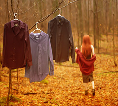Next (Patty Maher) Tags: red woman selfportrait forest hair woods colours walk shirts wig keep conceptual find