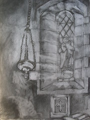 Lady's Chapel (nicholas marsh) Tags: bw art history church window glass saint st pencil downs religious book artist drawing ethereal messenger hastings spiritual doomsday chiaroscuro jerwood saxon rune stluke linkedin cathartic ovingdean 11thcentury wulfran nicholasmarsh abreaction