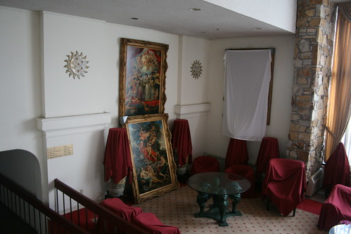 Large oil paintings in the main lobby