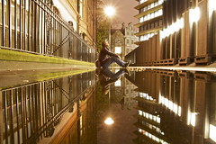 outside the fence... (maybemaq) Tags: street city uk light england man reflection london water lines metal night fence puddle outside hope gold lights mirror vanishingpoint alley sitting camino britain geometry cage structure symmetry line caged holborn tuesday inside unionjack reflexions aftertherain recent caminho chained waterreflection commitment chancerylane unchained uncaged wetreflection maybemaq the4elements outsidethefence colorphotoaward blinkagain fromhospital