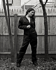 More will be Revealed 1/366 (sadandbeautiful (Sarah)) Tags: trees portrait bw woman selfportrait me leaves female yard self fence dayone coveralls 3661 366days