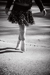 b a r e f o o t  in December (Karla Pitts) Tags: street bw child dancer barefoot