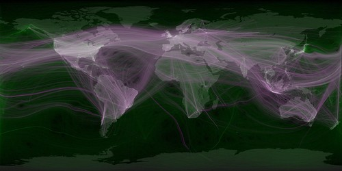 World travel and communications recorded on Twitter / Eric Fischer
