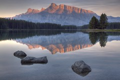 Two Jack Lake (Jeremy Duguid) Tags: park travel trees two lake canada reflection nature sunrise canon landscape jack rockies rocks day mt cloudy jeremy canadian mount national alberta 7d banff 1000 rundle duguid pwlandscape jeremyduguid