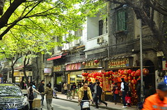 69/365 old district in Guangzhou, China -- Liwan district  () Tags: guangzhou china street old vintage shops wen citylandscape    chineselantern   peopleonthebike ~~icelemontea