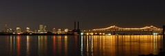 New Orleans cityscape & Crescent City Connection with Mississippi river at dusk (Sir Francis Canker Photography ) Tags: city travel bridge panorama usa reflection art tourism architecture night america mississippi landscape puente la beads cool twilight arquitectura louisiana citysc