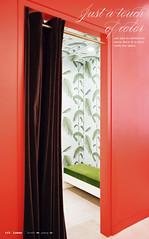 "Bold red-orange: ""Salsa"" by Benjamin Moore at Kate Spade New York (SarahKaron) Tags: red wallpaper orange house inspiration newyork home design paint bright manhattan interior velvet decorating cheerful salsa decor orangeandgreen bold redandgreen benjaminmoore katespade lonny paintideas coleandson"