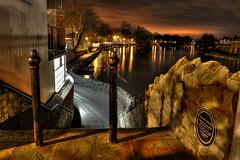 Windsor Bridge - Night - Explore 10th Jan (Biscuits_yum) Tags: uk bridge england night shadows perspective royal windsor berkshire riverthames hdr warmtones 2bollards