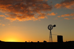 Wind Mill (blachswan) Tags: sunset clouds tank australia victoria bales windtower waubra waubrawindfarm