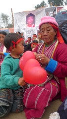 Monpa Grandma and little one at the Kalachakra (Sirensongs) Tags: india women buddhist buddhism tibet 2012 arunachal bihar bodhgaya sirensongs monpa