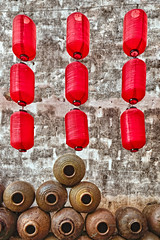 Lanterns & Wine Containers, Zhuge Village, Zhejiang, China (William Yu Photography / Photo Workshops) Tags: china red texture wall village wine empty vessel container liquor lantern zhejiang zhuge