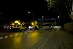 Road Closed - Sign Trucks Block Hwy 99 (drknife) Tags: trees water bike sign oregon truck river flooding flood roadclosed corvallis marysriver