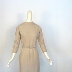 1950s buff diamond pattern sweater dress (Small Earth Vintage) Tags: vintage belt clothing women dress wheat 1950s buff 50s neutral sweaterdress diamondpattern knitdress smallearthvintage