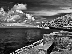 canon guarding sea (zbigphotography (1M+ views)) Tags: sea sky blackandwhite bw monochrome clouds canon landscape philippines land canong12 musictomyeyeslevel1