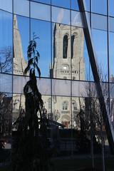 Distorted Covenant (mikepirnat) Tags: ohio architecture buildings reflections cleveland churches photowalk universityhospitals universitycircle churchofthecovenant seidmancancercenter