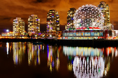 Vancouver Science World Night View (TOTORORO.RORO) Tags: city longexposure light canada reflection skyline night vancouver 35mm lens bc view shot sam cloudy britishcolumbia ripple sony falsecreek alpha f18 hdr scienceworld nex greatervancouver mirrorless nex5 sal35f18