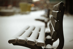 please... have a seat... (Morningdew Photography) Tags: morning winter brown white snow toronto ontario canada black green closeup canon vintage bench grey dof bokeh gray tan musicgarden greatphotographers alienskin morningdewphotography t1i ef100l TGAM:photodesk=backyard2012 TGAM:photodesk=details2012
