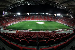 karaiskakis stadium /   (dtsortanidis) Tags: red sports sport club night canon football stadium fifa soccer fisheye greece uefa championsleague olympiakos 815 olympiacos