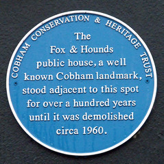 Photo of The Fox and Hounds, Cobham blue plaque