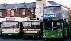 Blackburn Transport 432, 530 & 139. (Fred Dean Jnr) Tags: lancashire blackburn leyland lancashireeveningtelegraph eastlancs october1998 atlantean blackburntransport alloverad wrn139v luf549 hpf313n intackbusdepot